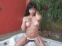 Naughty Latin She-Male Is Caressing Herself 1