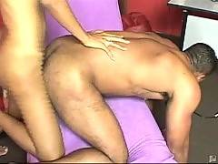 This tough dude is fond of deep anal penetration. He jumps on shemale\'s cock and jerks his own dick.