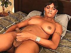Big titty black tgirl plays alone