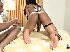 Lovely T-Ebony Passionately Blows Juicy Cock 2
