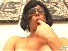 Nasty busty tranny shows her eager asshole and touches her horny cock.