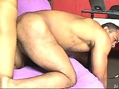 Big guy screams from pleasure when gets his eager asshole deeply stuffed by busty latin tranny.